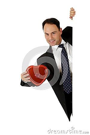 Free Businessman, Valentine Chocolates Royalty Free Stock Image - 17030706