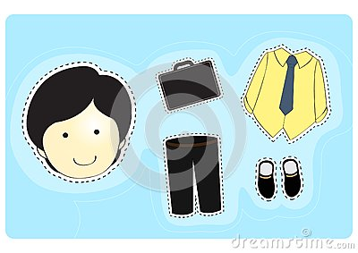 Businessman with variety of clothes