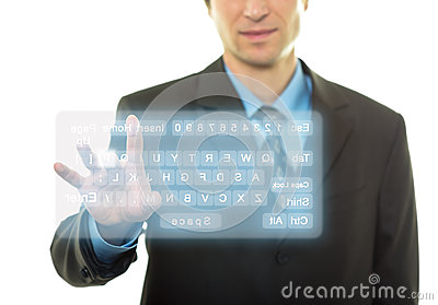 Businessman and virtual keyboard