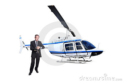 Businessman waiting for Helicopter transport