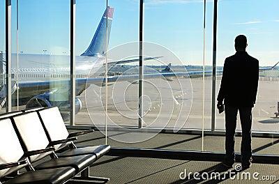 Businessman Waiting his Flight in Airport