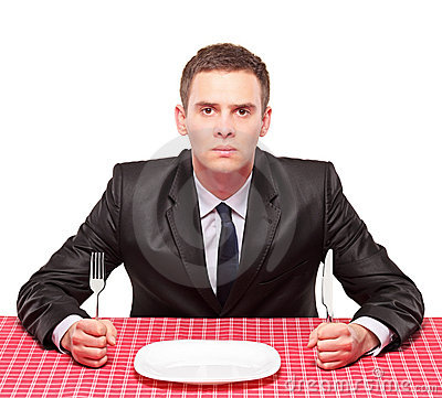 Free Businessman Waiting His Meal Stock Photo - 13673350