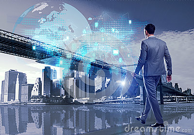 The businessman walking in cloud computing concept Stock Photo