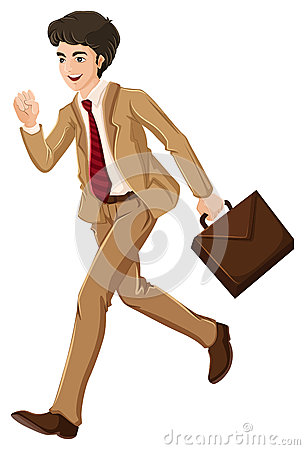 A businessman walking hurriedly with an attache case