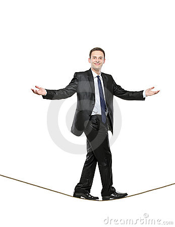 Free Businessman Walking On A Rope Stock Photography - 14341872