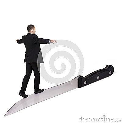 Free Businessman Walking On Knife. Stock Photo - 15531500