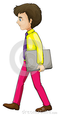 A businessman walking seriously while holding a binder