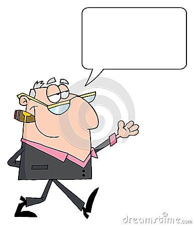 Businessman walking with speech bubble