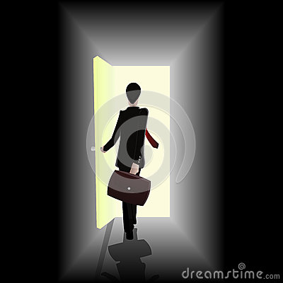 Businessman walking towards open the door showing
