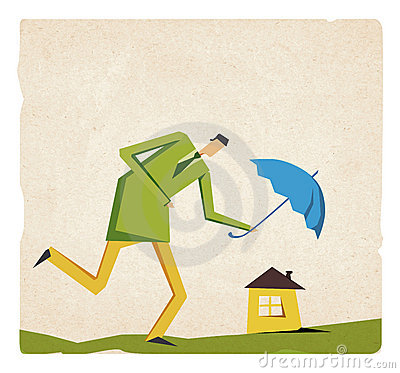 Businessman walking with umbrella protect house