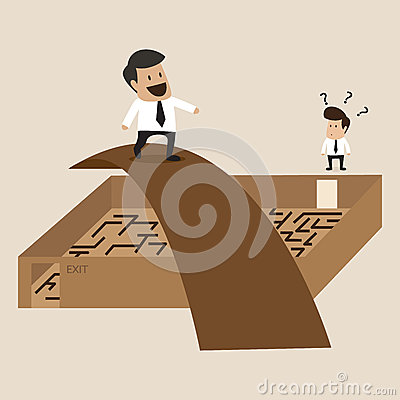 Businessman walks Cross the maze