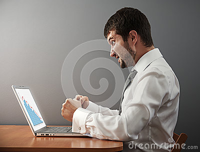Businessman wants to break his laptop