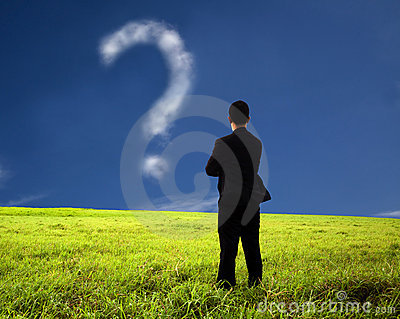 Businessman watching the question mark