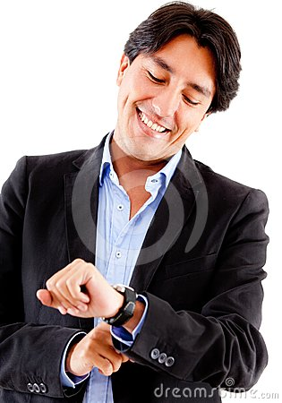 Businessman watching the time