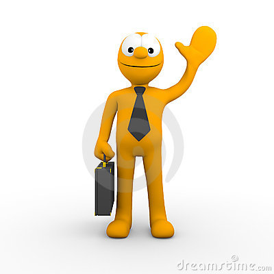 Businessman waving a greeting