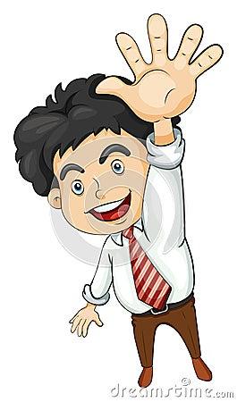 A businessman waving