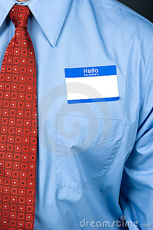 Businessman wearing blank nametag
