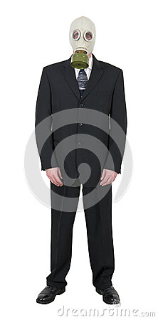 Businessman Wearing Gas Mask, Pollution Global Warming Isolated