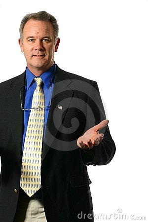 Businessman with welcoming gesture
