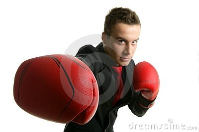 Businessman whit red boxer gloves