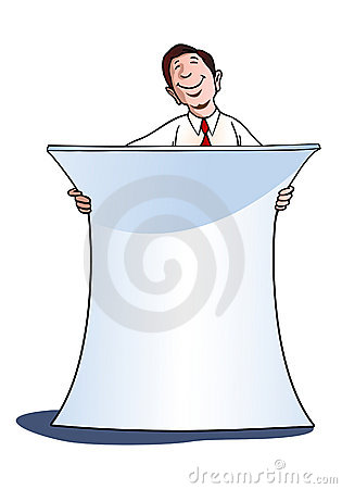 Businessman with white blank banner
