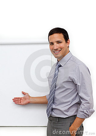 Businessman with a whiteboard