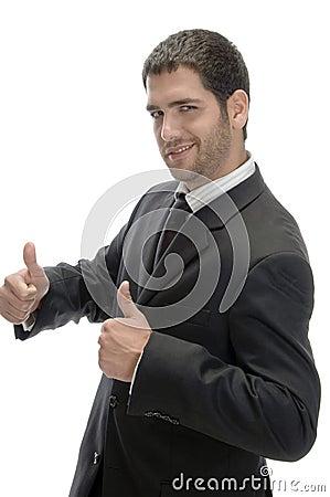 Businessman wishing good luck