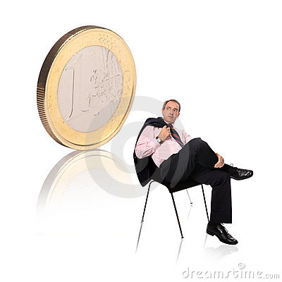 Free Businessman With A Coin Stock Photo - 6299270