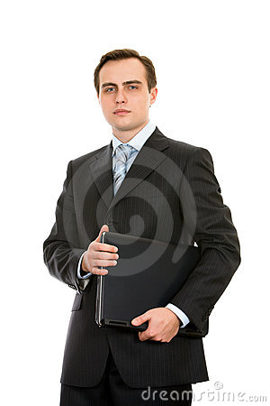 Free Businessman With A Laptop. Isolated On White. Royalty Free Stock Photography - 8197597