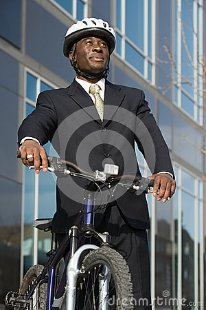 Free Businessman With Bicycle Stock Images - 36095544