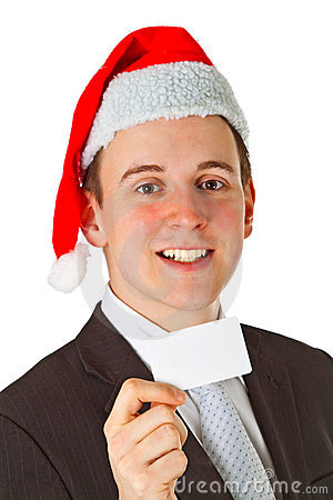 Free Businessman With Chrismas Hat Royalty Free Stock Photography - 19993587