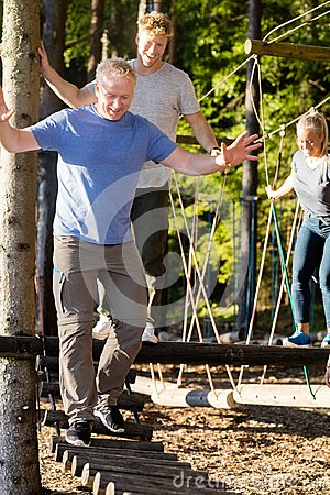 Free Businessman With Coworkers Crossing Log Bridge In Forest Stock Photo - 103445910
