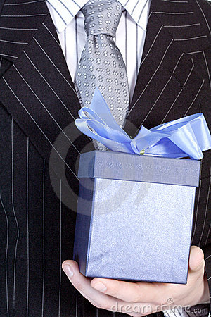 Free Businessman With Gift Royalty Free Stock Photography - 528057