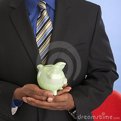 Free Businessman With Piggy Bank Royalty Free Stock Photo - 10685435