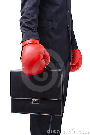 Free Businessman With Red Boxer Gloves Royalty Free Stock Photo - 3779245