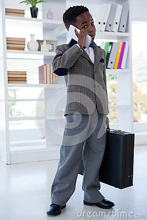 Free Businessman With Suitcase Talking On Mobile Phone Stock Photo - 96373180