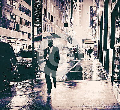 Free Businessman With Umbrella Wet City Street Stock Photo - 61301320