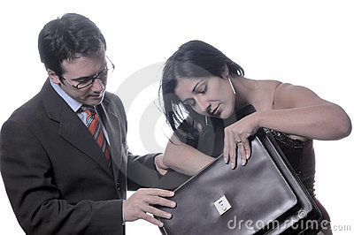 Businessman and woman with bag