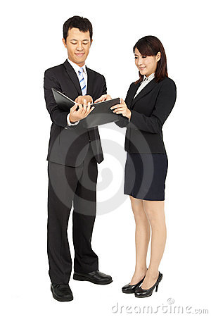 Businessman and woman isolated