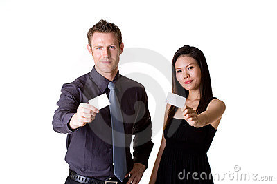 Businessman and woman showing blank  bussiness car