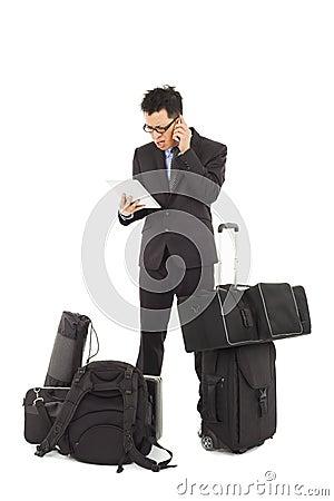 Businessman wonder at reading bad news on tablet