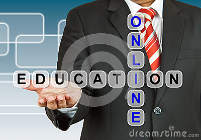 Businessman with wording Online Education