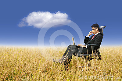 Businessman working anywhere with laptop