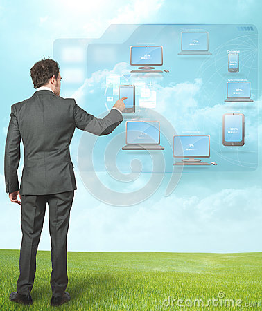 Businessman working with cloud compute
