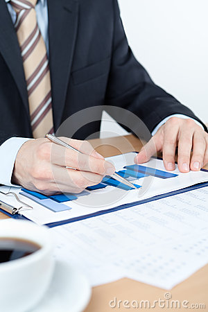 Businessman working with diagrams