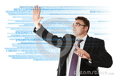 Businessman working with digits
