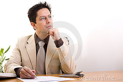 Businessman working at his office
