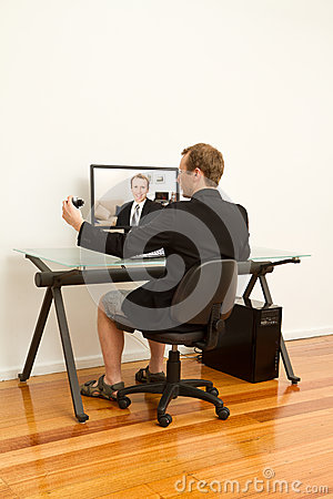 Businessman working from home in casual clothes
