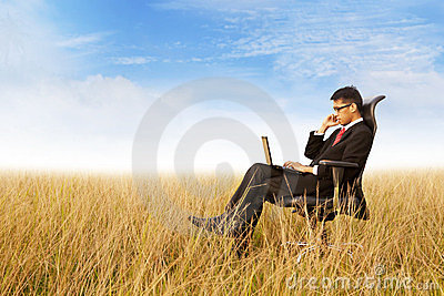 Businessman working outdoor