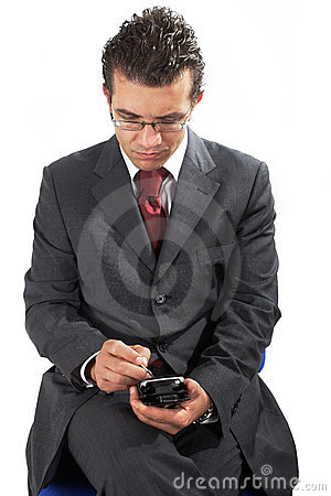 Businessman working with PDA